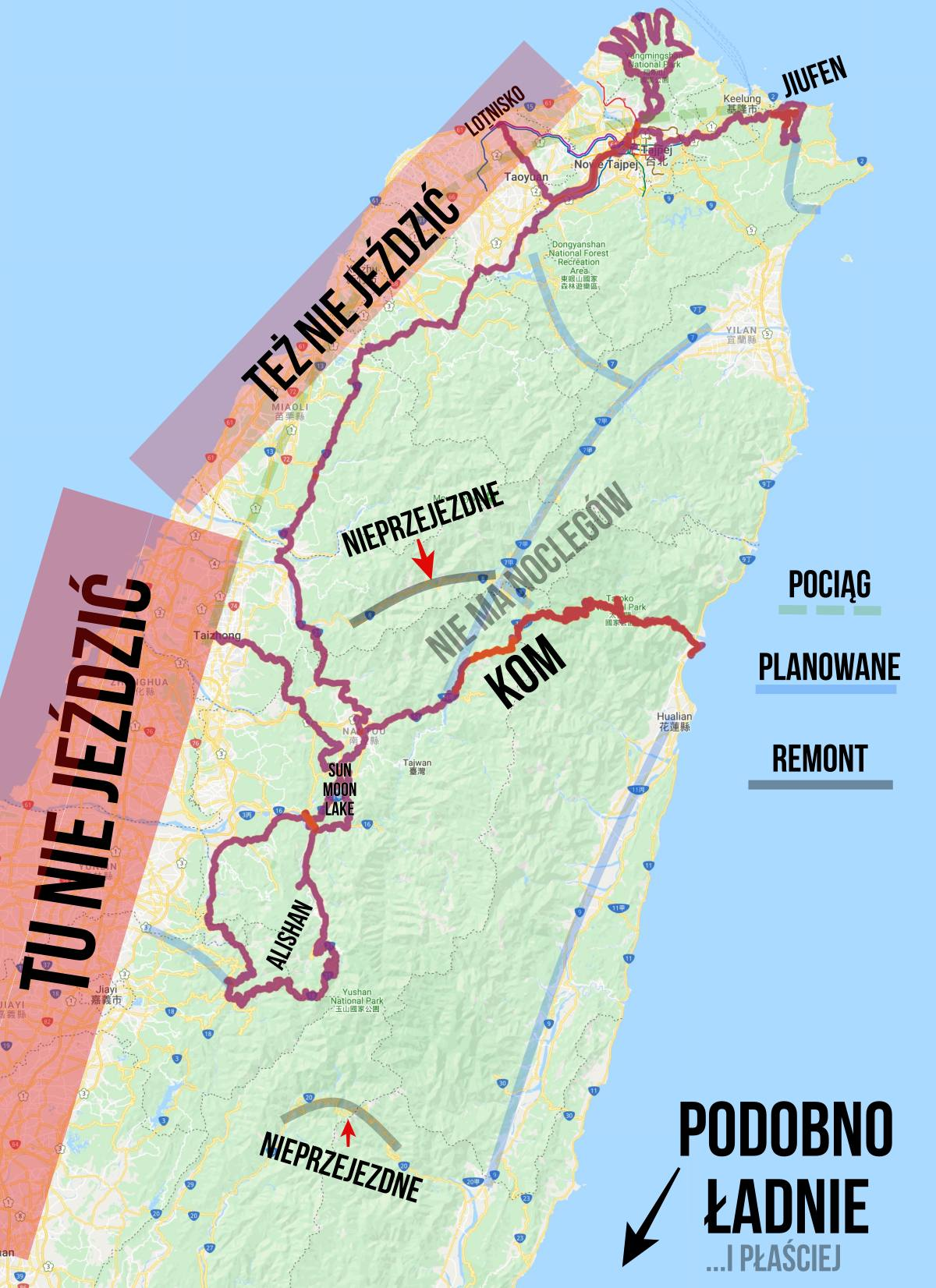 tajwan mapa rower